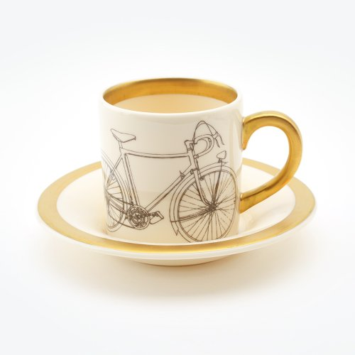 BICYCLE ESPRESSO CUP & SAUCER 22CT GOLD