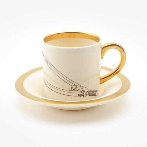 COMPASS ESPRESSO CUP & SAUCER 22CT GOLD