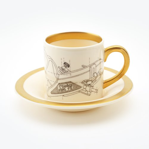 PLANE ESPRESSO CUP & SAUCER 22CT GOLD