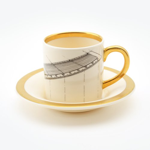 RULER ESPRESSO CUP & SAUCER 22CT GOLD
