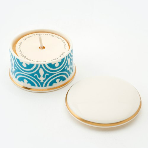 FLEUR DE LYS TURQUOISE 'BESOTTED' TRAVEL CANDLE