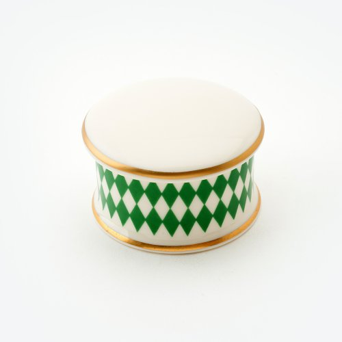 HARLEQUIN GREEN TRINKET BOX