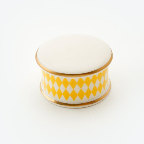 HARLEQUIN YELLOW TRINKET BOX