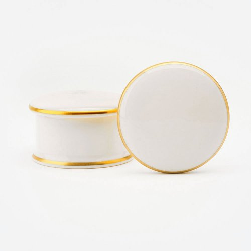 BESPOKE 22CT GOLD ROUND WHITE BONE CHINA TRINKET BOX
