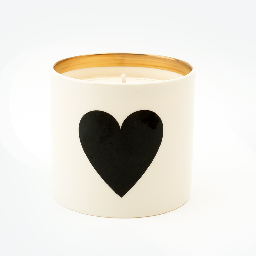 black heart candle