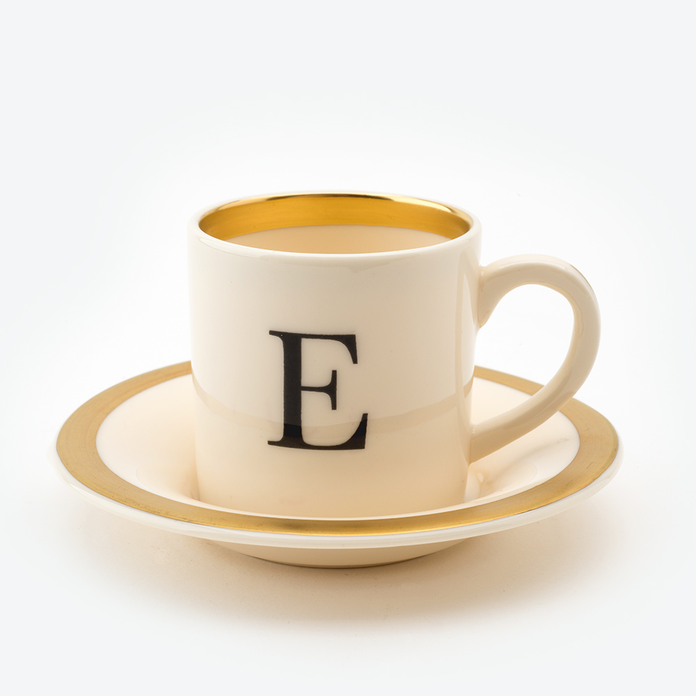 Baskerville letter e espresso cup and saucer