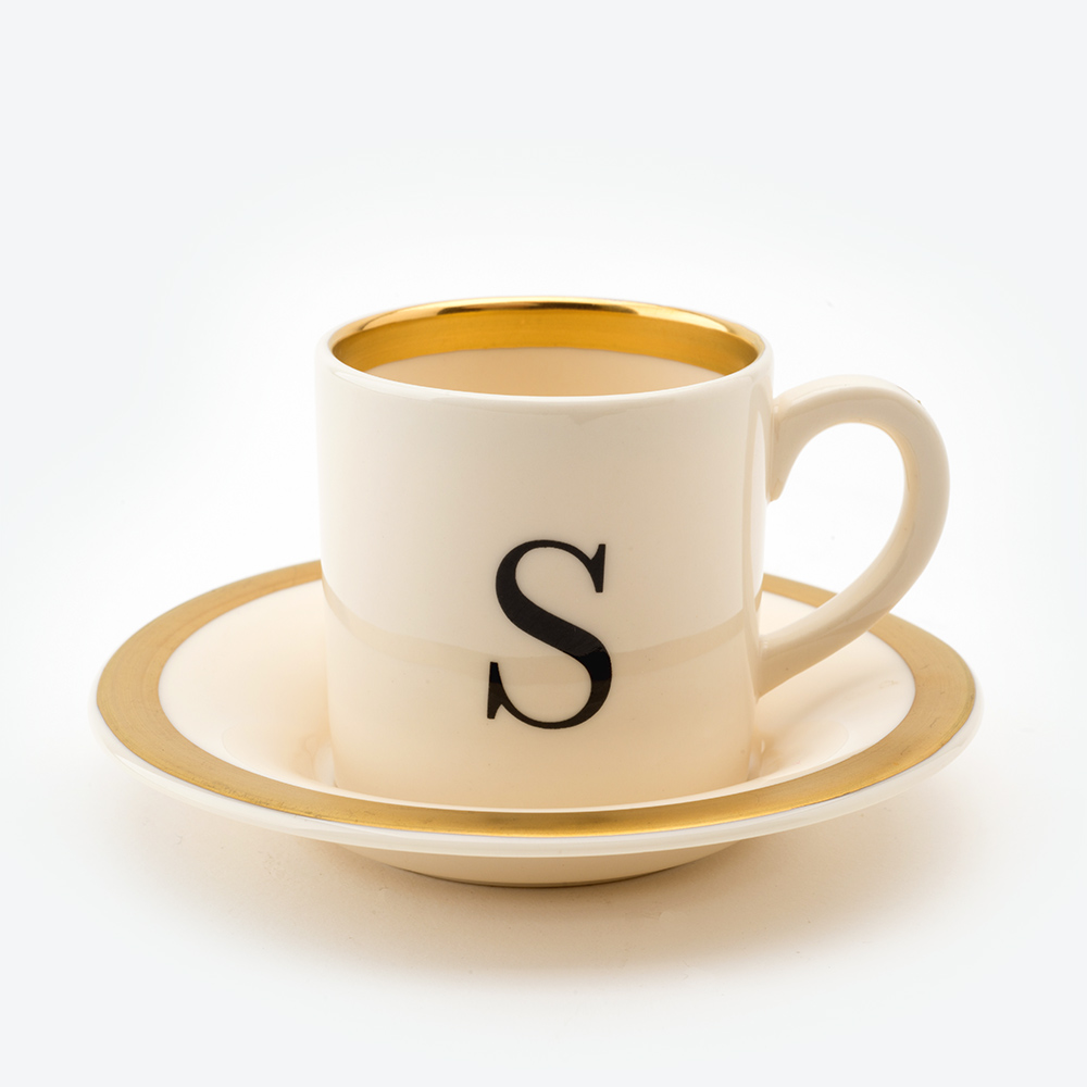 Baskerville letter s espresso cup and saucer
