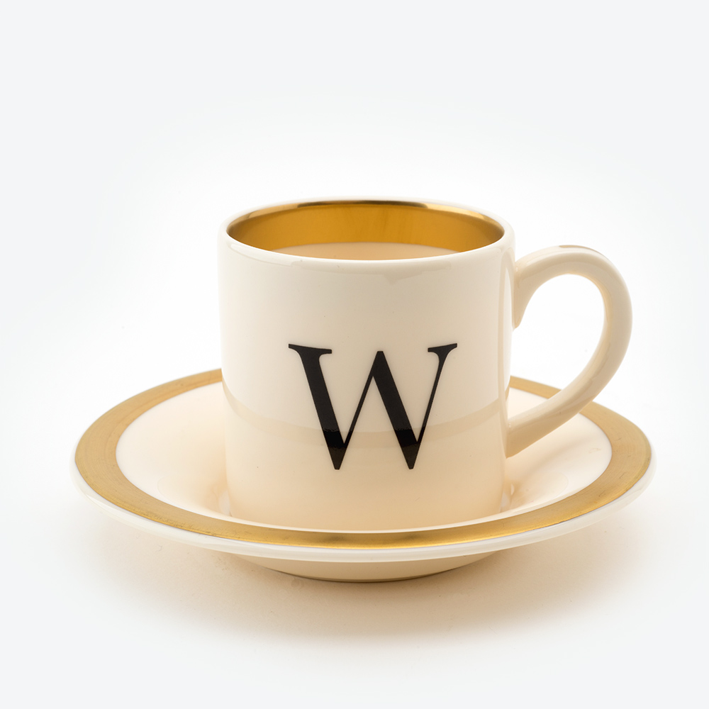 Baskerville letter w espresso cup and saucer