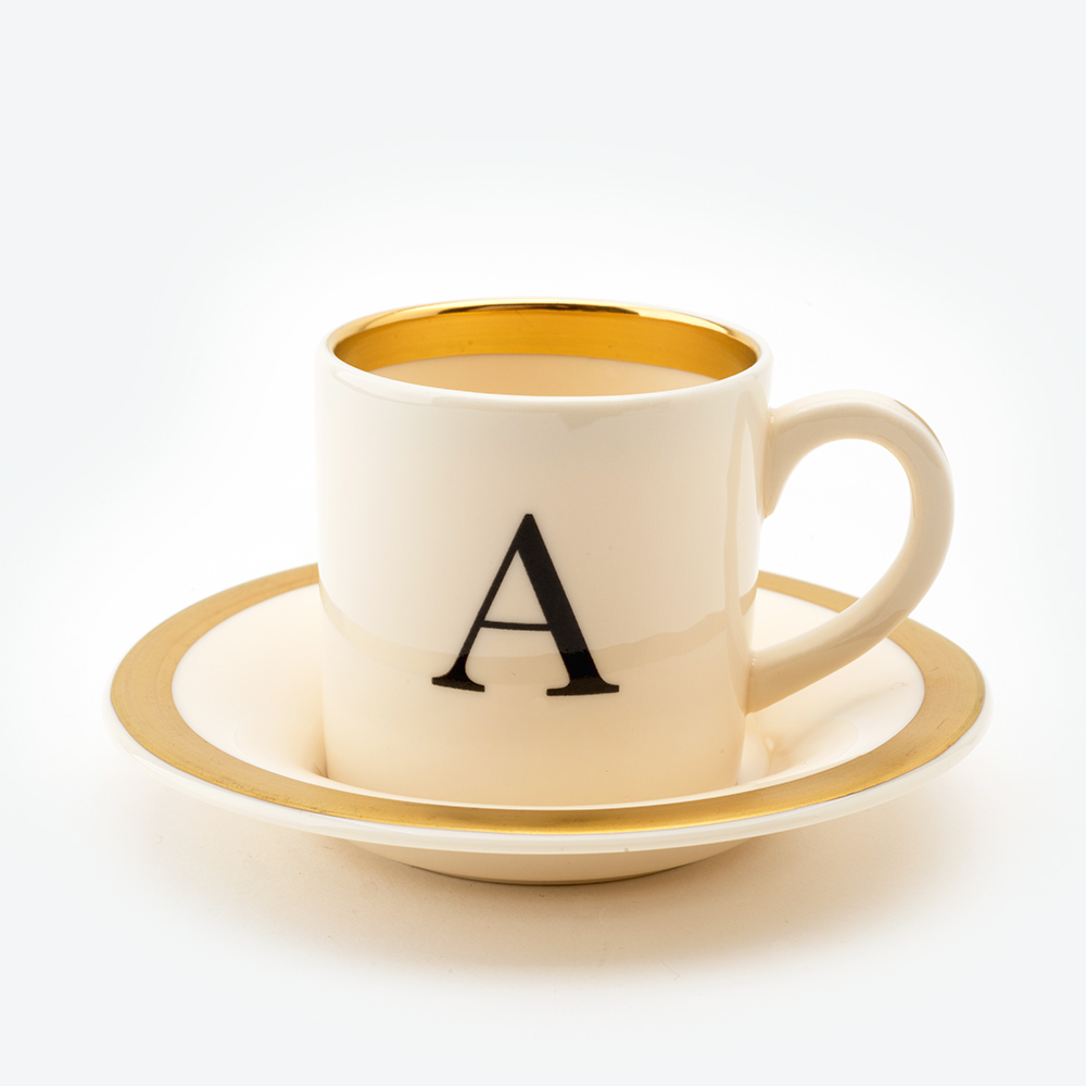 Baskerville letter a espresso cup and saucer