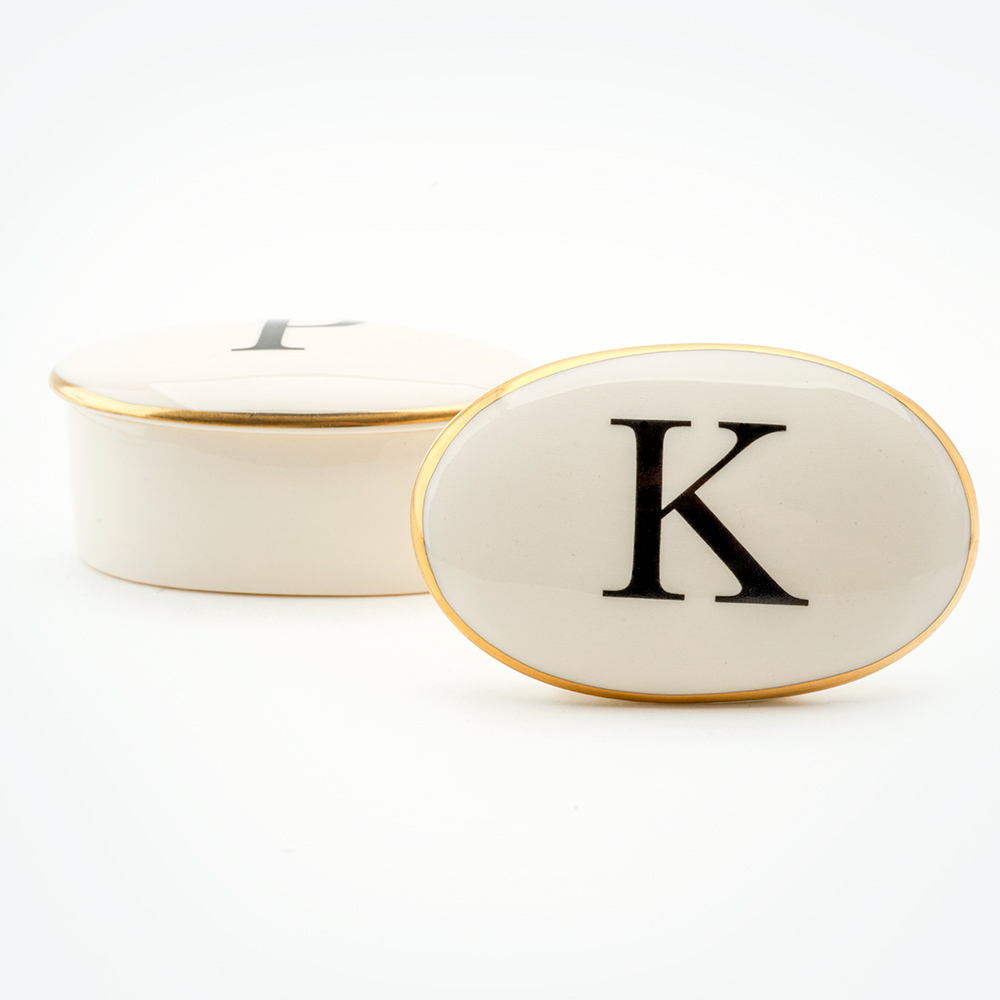 Baskerville Letter K 22ct gold trinket box