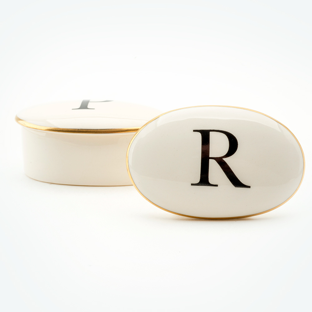 Baskerville Letter R 22ct gold trinket box