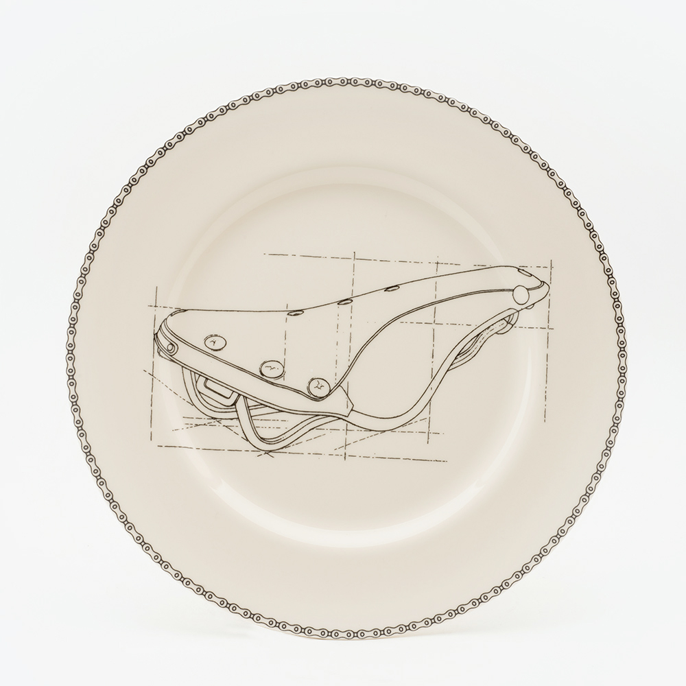 leather saddle dinner plate