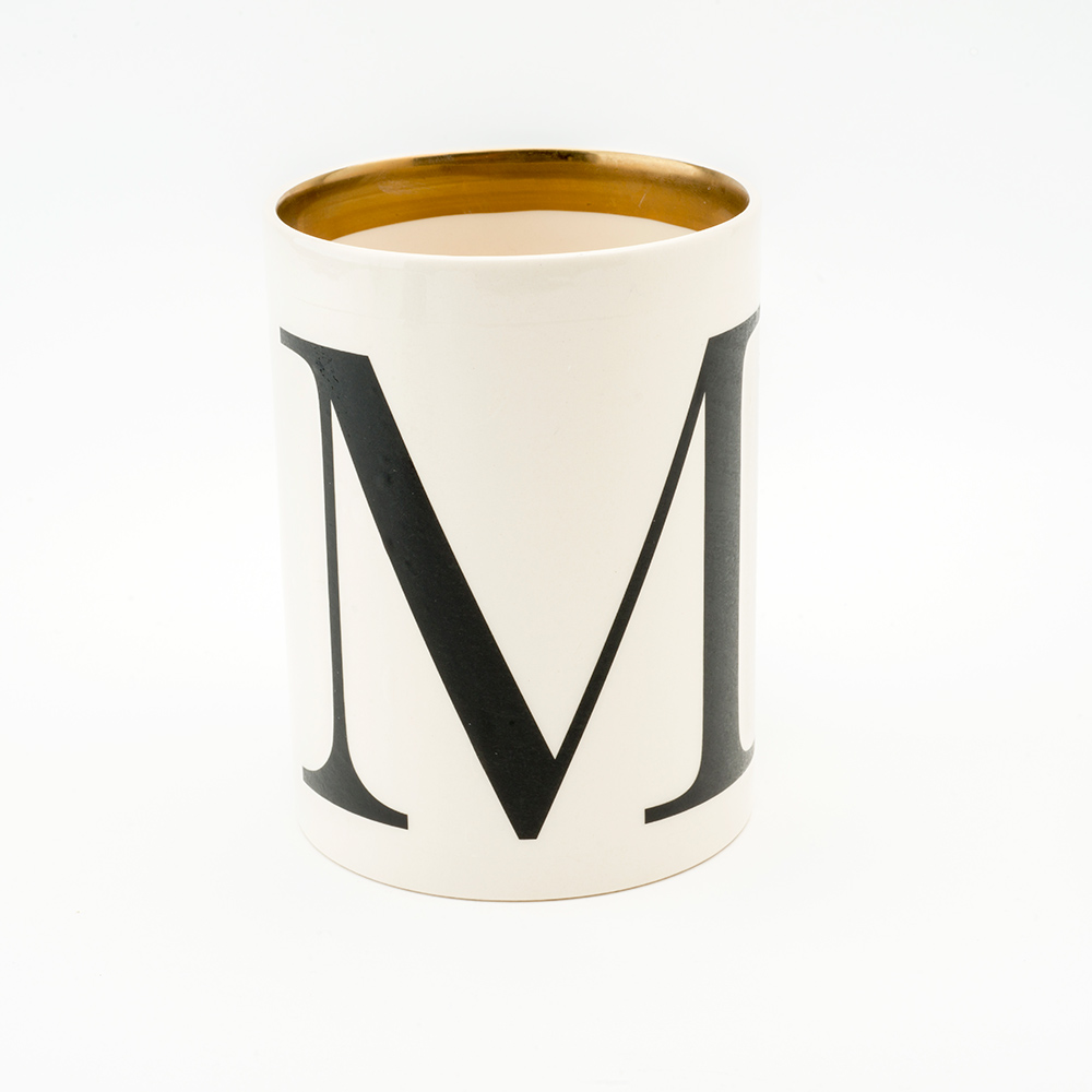 Baskerville letter M large pen pot