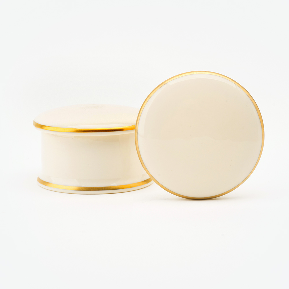 alphabet 22ct gold round trinket box
