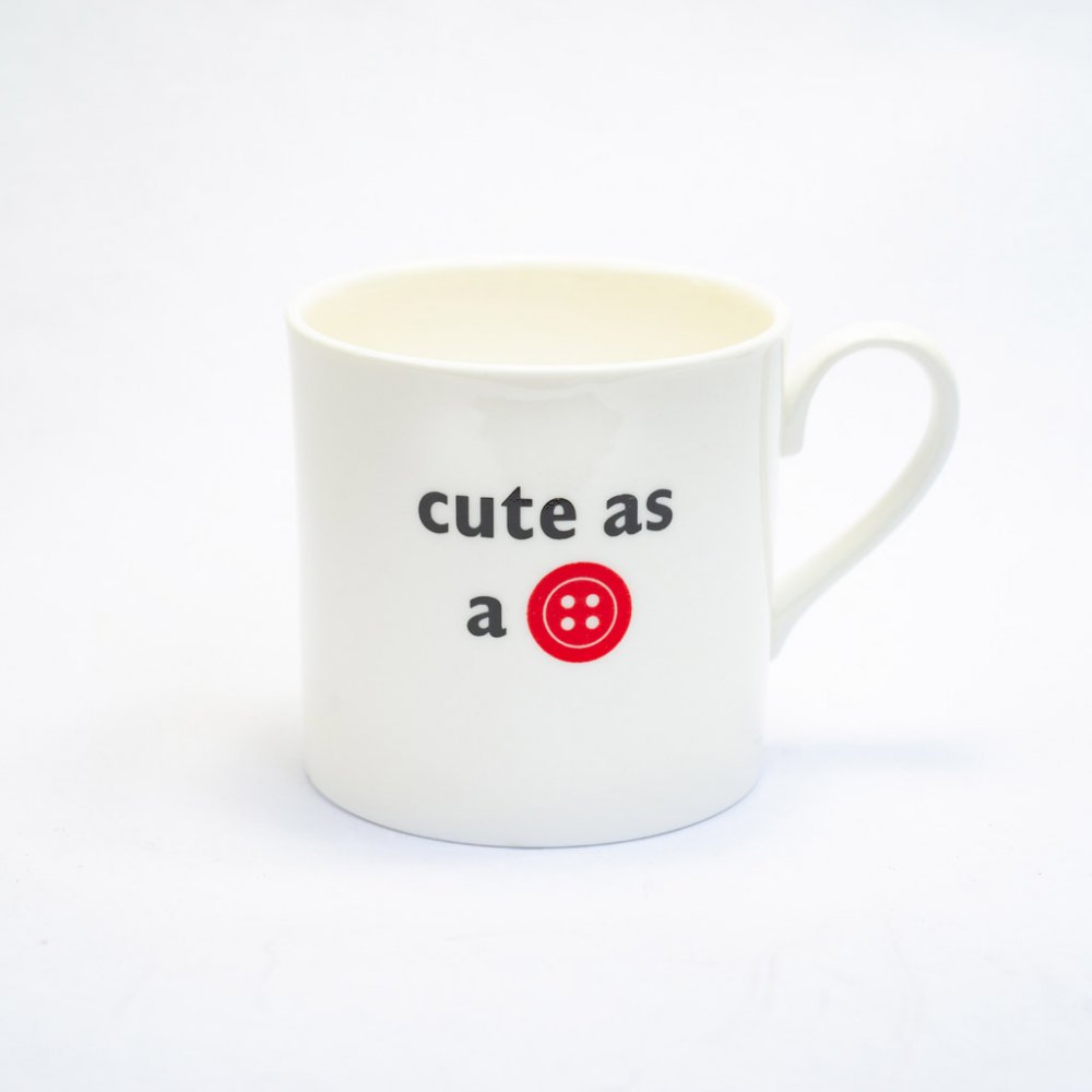 CUTE AS A BUTTON CHILDS MUG