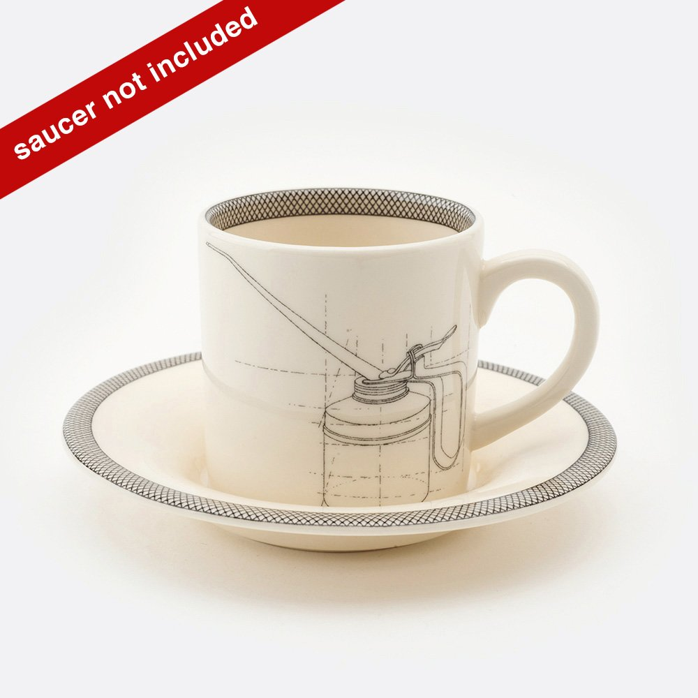 Oil can espresso cup and saucer
