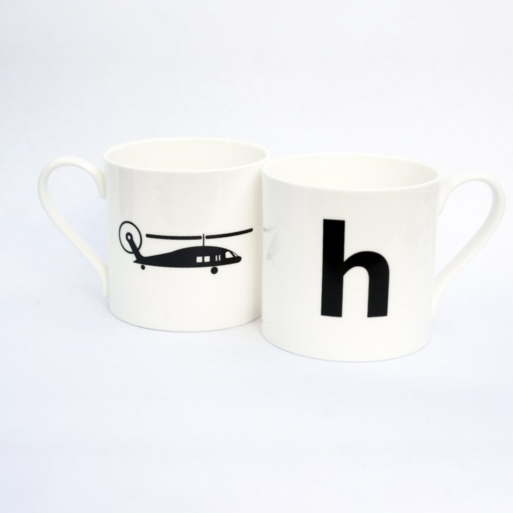 H is for Helicopter mug