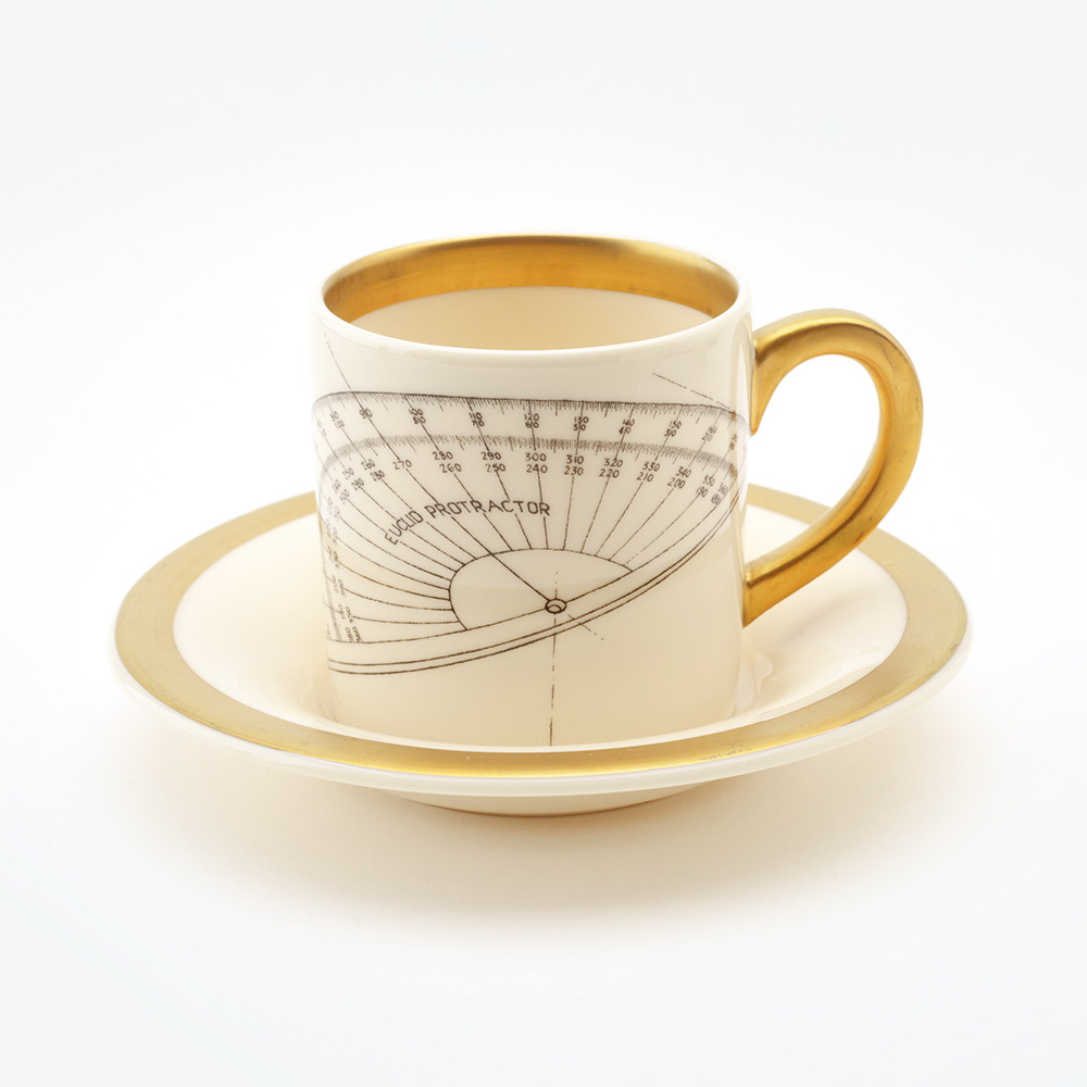 protractor espresso cup & saucer 22ct gold