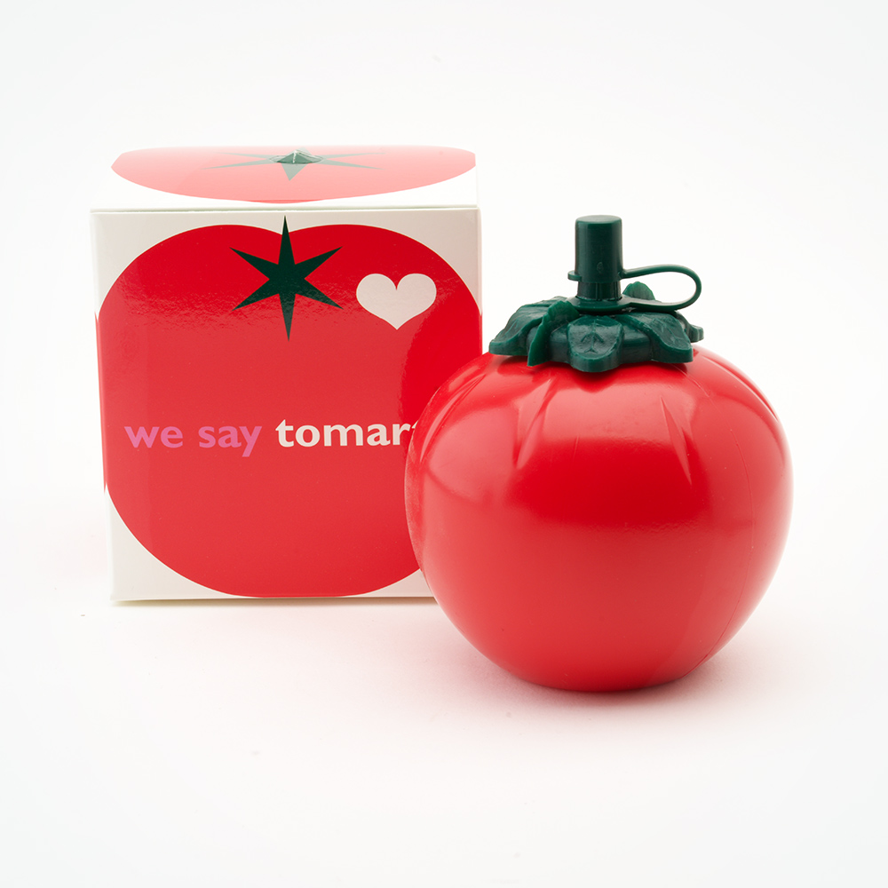 Red squirty tomato with box
