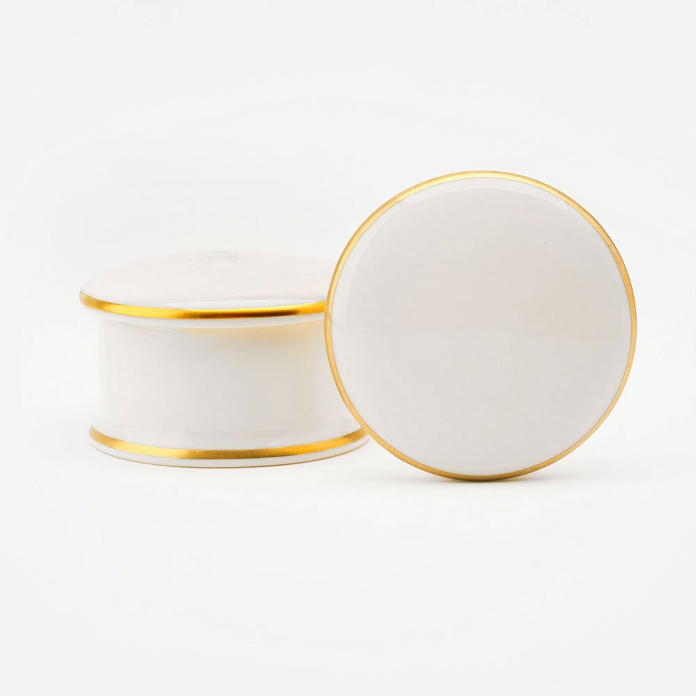 Customise 22ct gold round white bone china trinket box